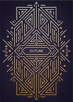 Luxus antiken art deco geometrischen linearen rahmen, grenze.