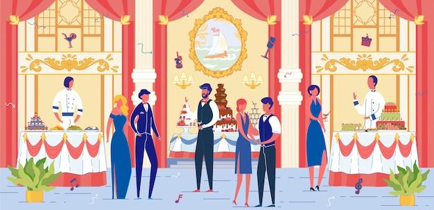 Luxus bankettsaal mit festlich gekleideten menschen.