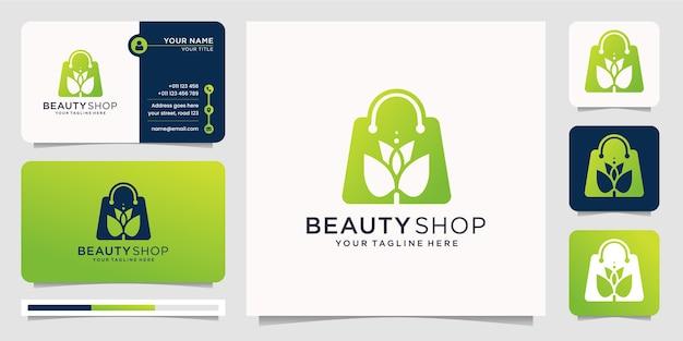 Luxus beauty shop kombination in silhouette modernen stil design-vorlage. shop-logo, schönheit, blumen, blume, modegeschäft, frauen, spa, elegantes design mit visitenkartenvorlage.