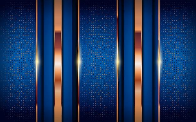 Luxus blauer hintergrund mit glänzenden goldenen linien.
