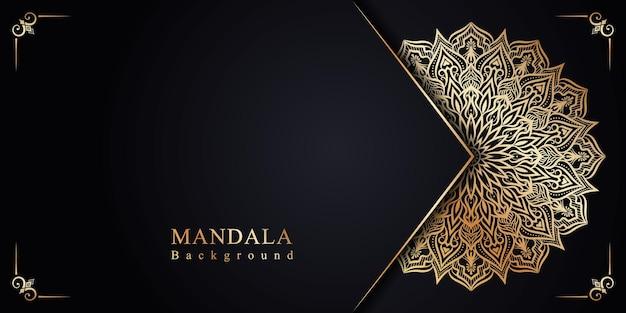 Luxus-blumen-mandala-einladungshintergrund im islamischen arabesken-stil