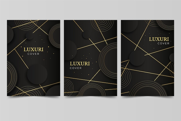 Luxus-cover-set mit farbverlauf in gold