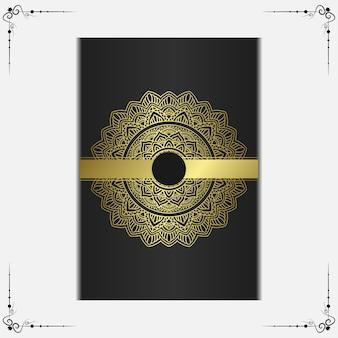 Luxus dekorativer mandala-hintergrund mit arabischem islamischen ostmustermuster-premiumvektor