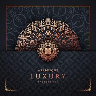 Luxus-dekorativer mandala-hintergrundentwurf mit goldener arabeske und blumeneckrahmen arabisch-islamischer oststil
