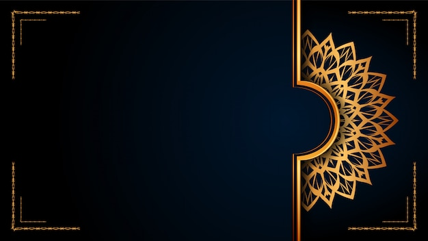 Luxus-dekorativer mandala-islamischer hintergrund mit goldenen arabesken mustern für hochzeitseinladung, buchumschlag.