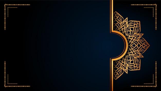 Luxus-dekorativer mandala-islamischer hintergrund mit goldenen arabesken mustern.