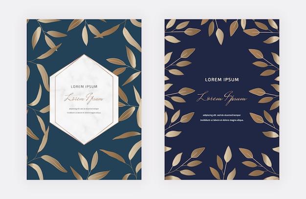 Luxus-designkarten mit goldenen blättern und geometrischen weißen marmorrahmen.