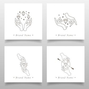 Luxus diamond hand logo bearbeitbare vorlage einfaches design