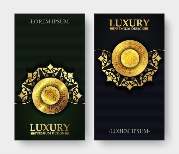 Luxus dunkel und gol mandala banner