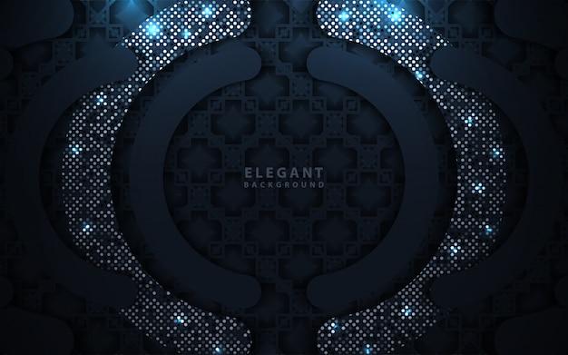 Luxus dunkelblau überlappend mit glitzerdekoration