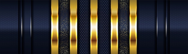 Luxus dunkelblauer hintergrund mit goldenen linien überlappen schicht