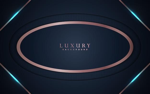Luxus dunkelblauer hintergrund mit roségoldener dekoration