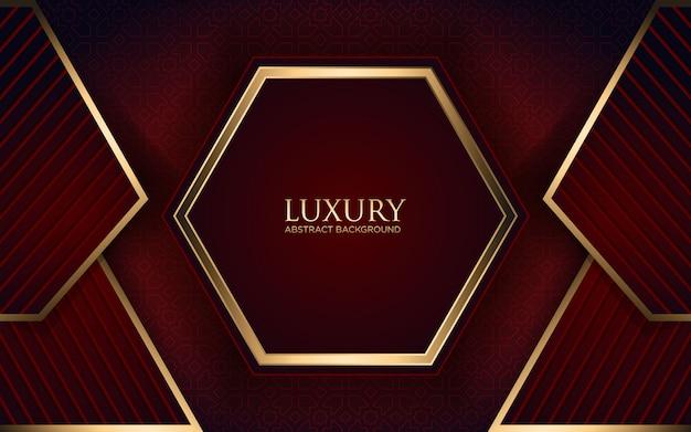 Luxus dunkelroten hintergrund mit geometrischer form und goldenen streifen
