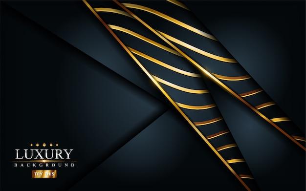 Luxus dunkelschwarzer hintergrund mit goldener linienzusammensetzung