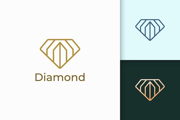 Luxus-edelstein- oder juwelenlogo in diamantlinienform mit goldfarbe