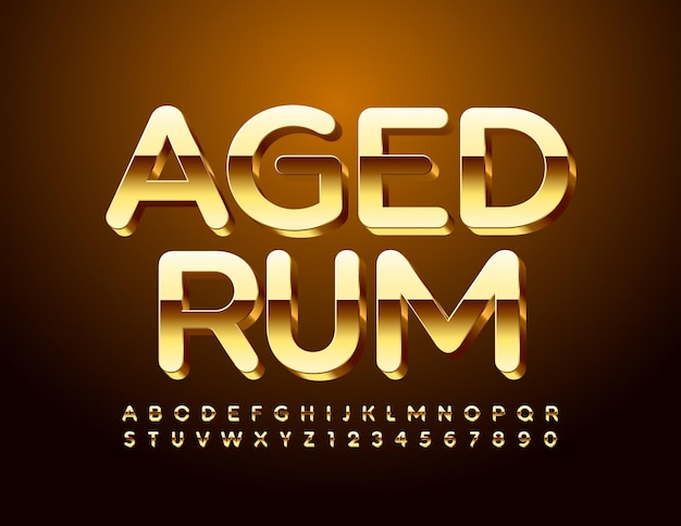 Luxus-emblem aged rum. glänzende goldschrift. 3d premium alphabet buchstaben und zahlen eingestellt