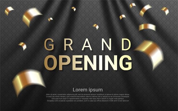 Luxus-eröffnung auf vorhanghintergrund.