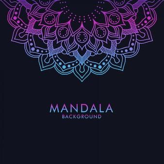 Luxus farbverlauf mandala ornament auf dunklem hintergrund