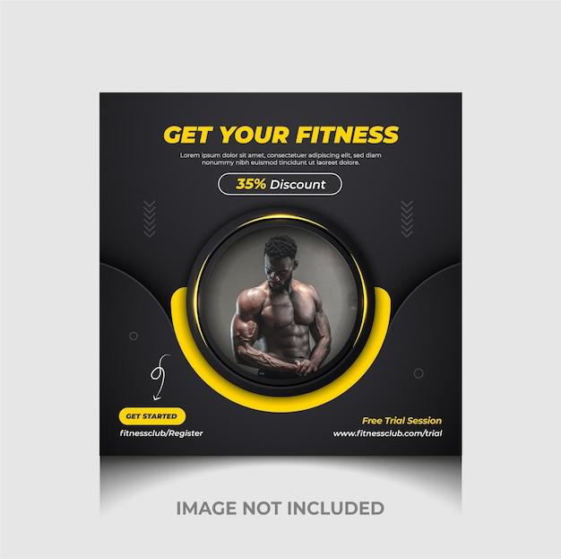 Luxus-fitnessstudio und fitness-social-media-promotion-webbanner und instagram-post-vorlage premium-vektor