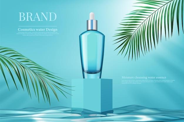 Luxus-flaschenpackung hautpflegecreme mit palmblatt und quadratischer schachtel auf wasseroberfläche, 3d