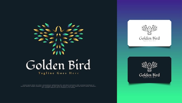 Luxus flying bird logo design in grün und gold