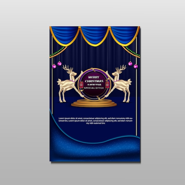 Luxus frohe weihnachten und neujahr promotion großen verkauf flyer