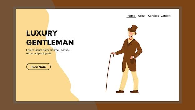Luxus gentleman im eleganten vintage-kostüm-vektor. luxus-gentleman-aristokrat, der ein stilvolles retro-kostüm und einen hut trägt, der mit stockzubehör geht. charakter-mann-netz-flache karikatur-illustration