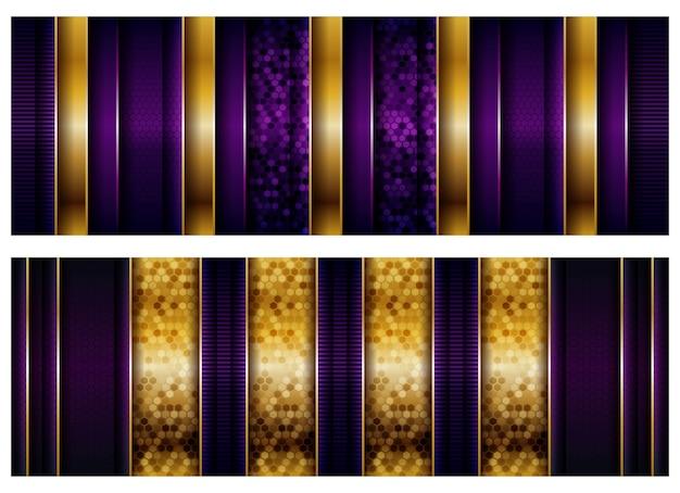 Luxus geometrische lila überlappungsschichten hintergrund mit goldener kombination