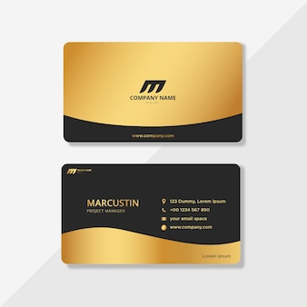 Luxus-geschäftsausweise in schwarz und gold Premium Vektoren