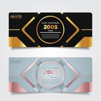 Luxus-geschenkgutschein mit dunkelblauer und goldener elementdekoration