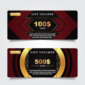 Luxus-geschenkgutschein mit goldelementdekoration