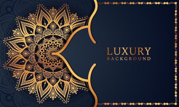 Luxus gold arabesken muster im mandala hintergrund arabisch islamische ostart premium-vektor