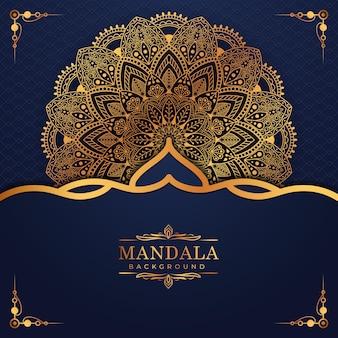 Luxus gold arabesken muster im mandala hintergrund arabisch islamischen osten stil premium-vektor