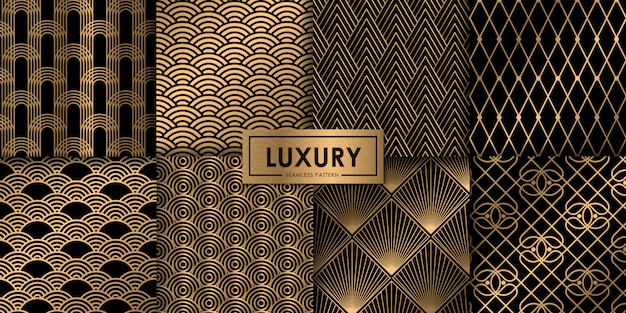 Luxus gold geometrische nahtlose muster-set