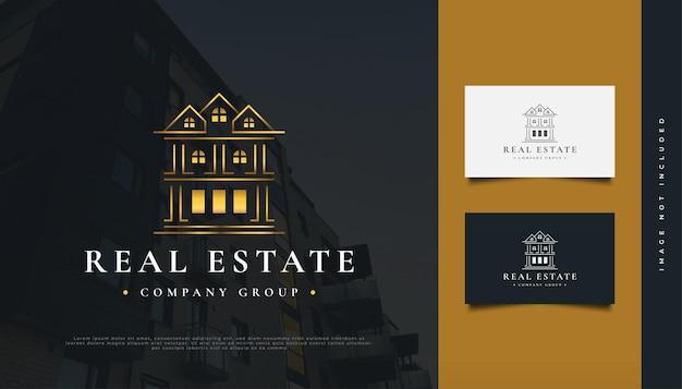 Luxus-gold-immobilien-logo-design mit linienstil. bau-, architektur- oder gebäudelogo-design