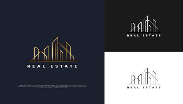 Luxus-gold-immobilien-logo-design mit linienstil.