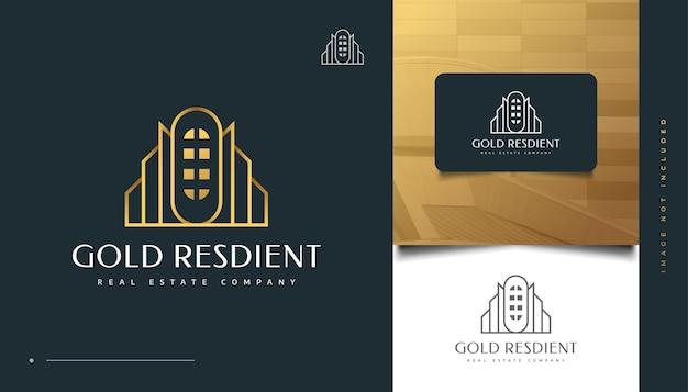 Luxus-gold-immobilien-logo-design mit linienstil