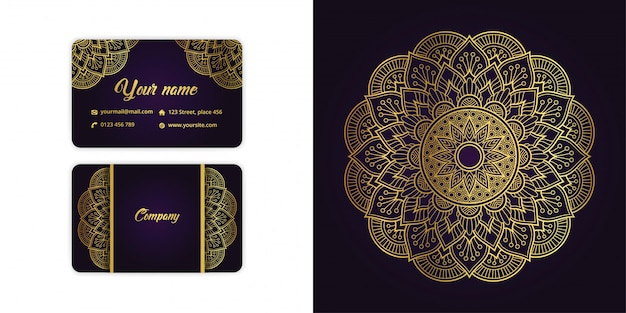 Luxus gold mandala arabesque visitenkarte und arabesque hintergrund auf elegante lila farbe gesetzt