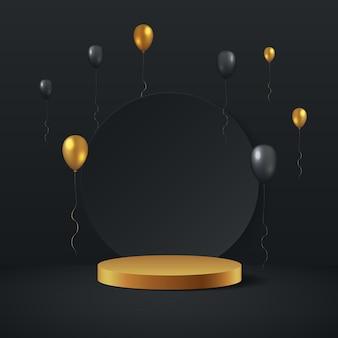 Luxus-gold- und schwarzballon-3d-rendering mit zylinderpodest. minimal gerenderte szene 3d mit goldener podestplattform.