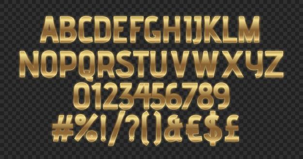 Luxus golden glänzender texteffektsatz von alphabeten und zahlen.
