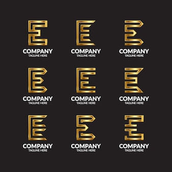 Luxus golden letter e logo sammlung