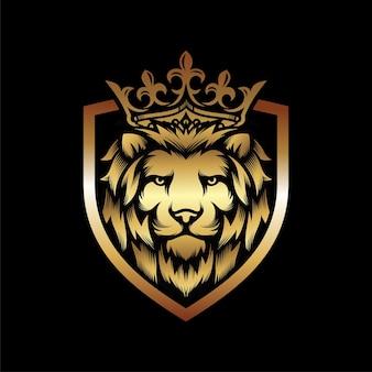 Luxus golden royal lion king logo design inspiration