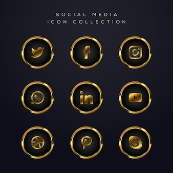 Luxus golden social media icons pack