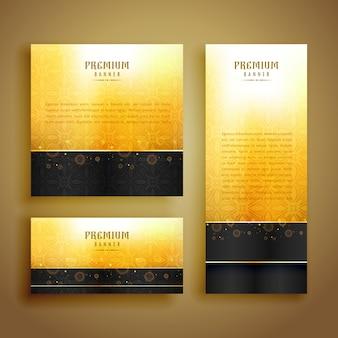Luxus goldenen karten design-set