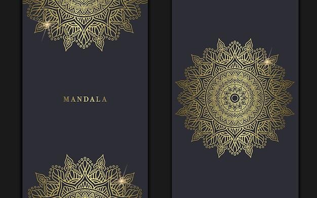 Luxus goldener mandala verzierter hintergrund, buchumschlag mit mandalaelement.