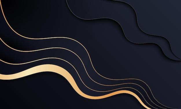Luxus goldener und schwarzer wellenhintergrund. luxus-design für ihre tapete.