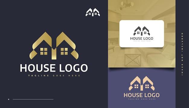 Luxus-goldhaus-logo-design für die identität der immobilienbranche. bau-, architektur- oder gebäudelogo-design