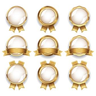 Luxus-goldleere abzeichen-kollektion