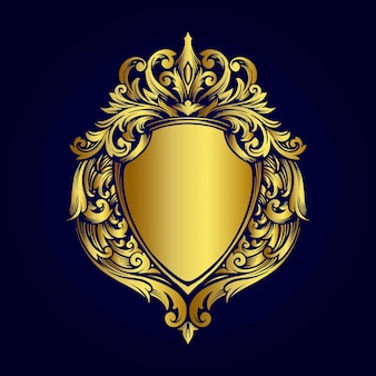 Luxus goldrahmen abzeichen vintage ornamente stil illustrationen