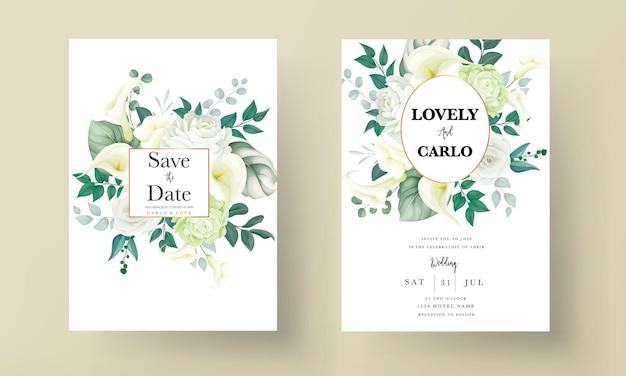Luxus-grünlilie und rosenblüten-hochzeitseinladungskarte